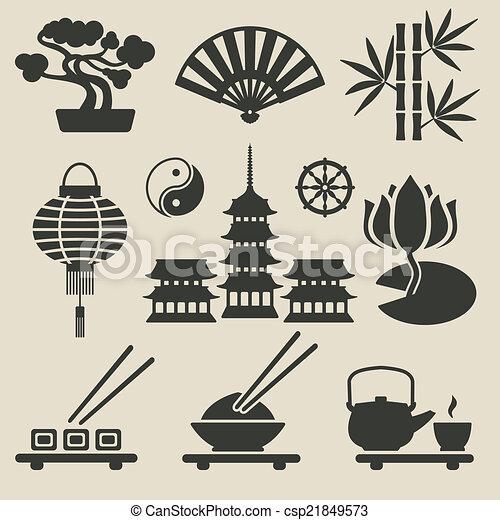 ensemble, asiatique, icônes - csp21849573
