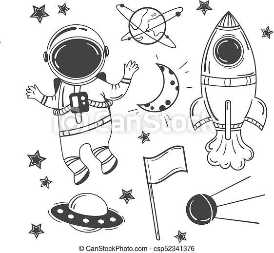 Ensemble astronaute dessin anim espace vaisseau spatial espace set fus e lune - Dessin d astronaute ...