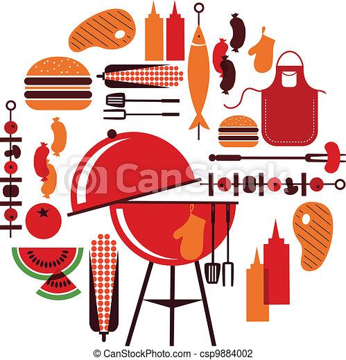 ensemble, barbecue, objets - csp9884002