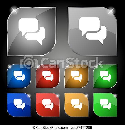 ensemble, bulle, dix, signe., glare., boutons, vecteur, parole, coloré, penser, nuage, icône - csp27477206
