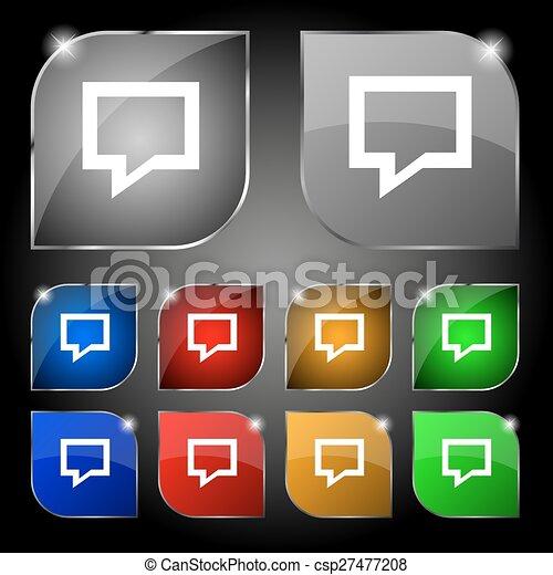 ensemble, bulle, dix, signe., glare., boutons, vecteur, parole, coloré, penser, nuage, icône - csp27477208