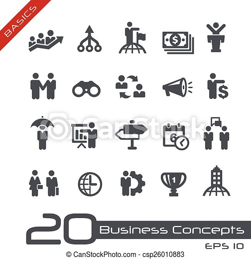 ensemble, business, --, concepts, fondamental, icône - csp26010883