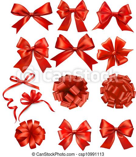 ensemble, cadeau, grand, arcs, vecteur, rubans, rouges - csp10991113