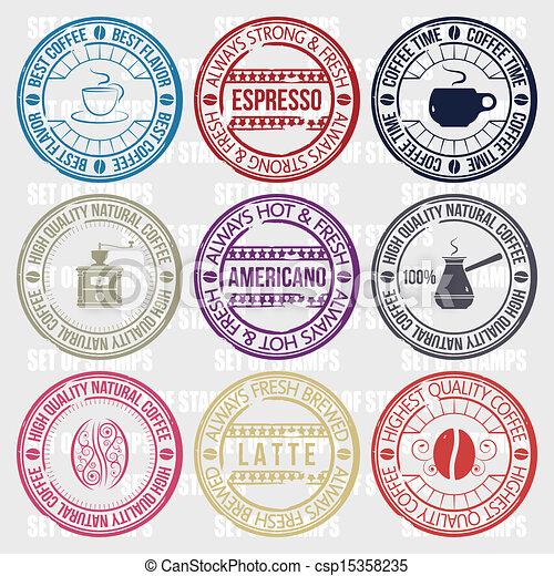 ensemble café, timbres - csp15358235
