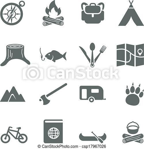 ensemble, camping., icônes, voyage, vecteur, tourisme - csp17967026