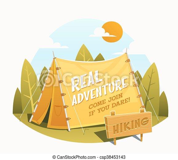ensemble, camping, randonnée, icônes - csp38453143