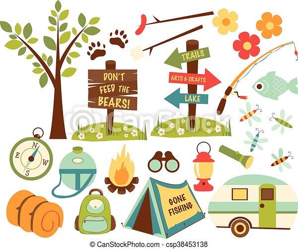 ensemble, camping, randonnée, icônes - csp38453138