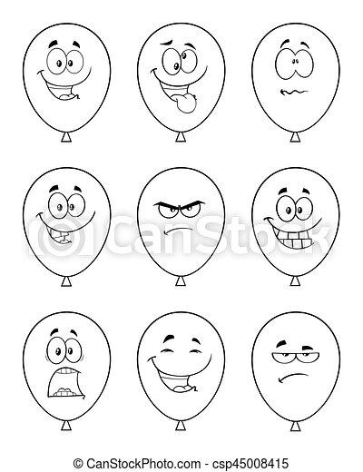 Ensemble Caractère Collection Expressions Noir Blanc Ballons