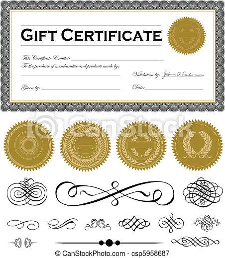 ensemble, certificat, cadre, sombre, vecteur, ornements - csp5958687