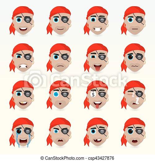 ensemble, character., icons., divers, émotions, avatar - csp43427876