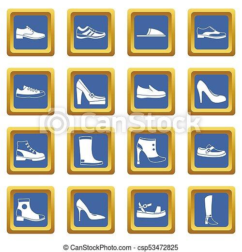 ensemble, chaussure, icônes, bleu - csp53472825