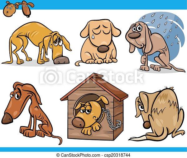ensemble, chiens, errant, illustration, triste, dessin animé - csp20318744