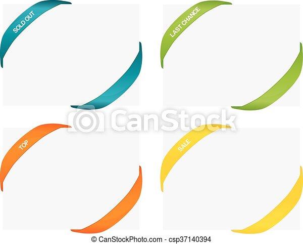 ensemble, coloré, coins, isolé, caoutchouc, 4, appelé, bandes - csp37140394