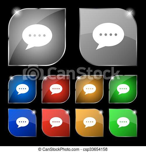 ensemble, coloré, dix, signe., glare., boutons, vecteur, parole, bulles, icône - csp33654158