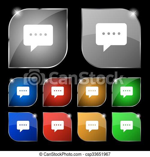 ensemble, coloré, dix, signe., glare., boutons, vecteur, parole, bulles, icône - csp33651967