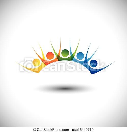 ensemble, coloré, gens, &, excité, amusement, apprécier, avoir, heureux - csp16449710