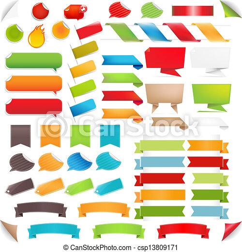 ensemble, coloré, grand, étiquettes, bulle discours - csp13809171