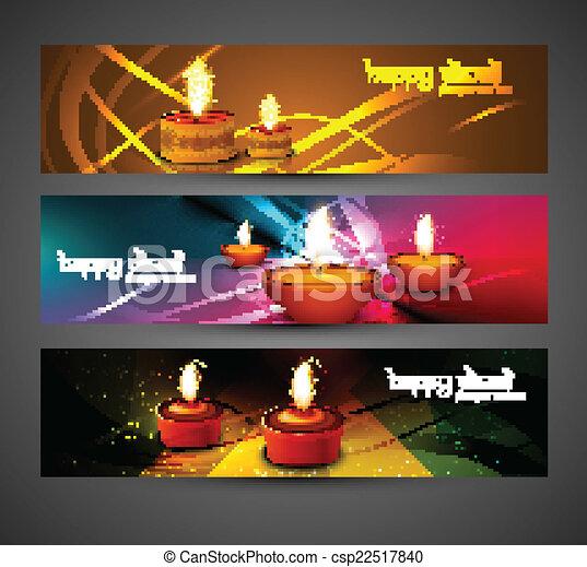 ensemble, coloré, vecto, diwali, en-têtes, clair, conception, élégant, heureux - csp22517840