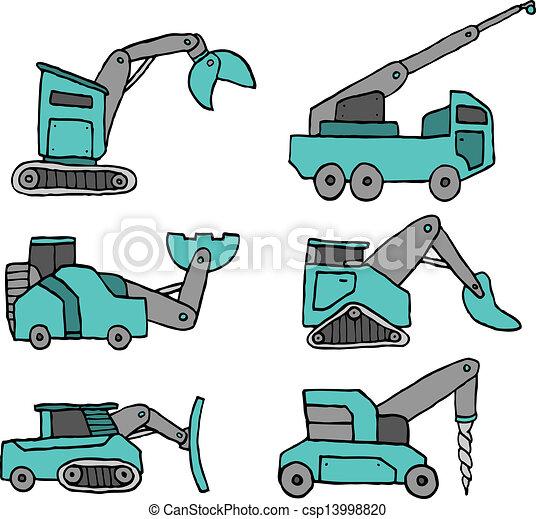 ensemble construction, dessin animé, véhicule - csp13998820