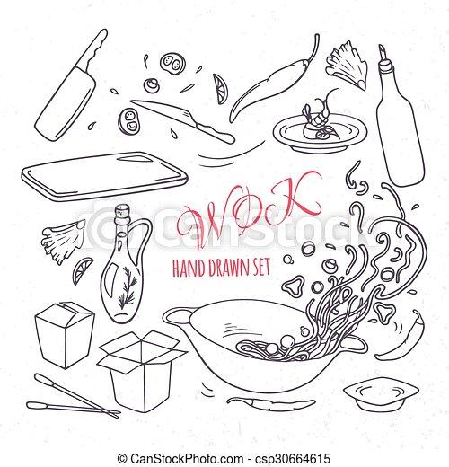 ensemble, contour, elements., restaurant, nourriture, griffonnage, main, asiatique, wok, dessiné - csp30664615