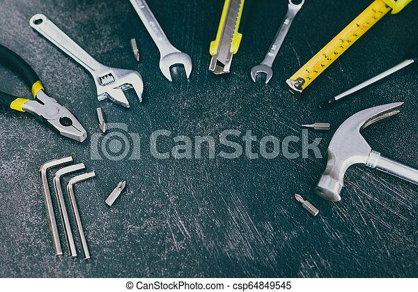 ensemble, copyspace, texte, ton, ajouter, bricolage, maison, logo, rénovation, outils, ou - csp64849545