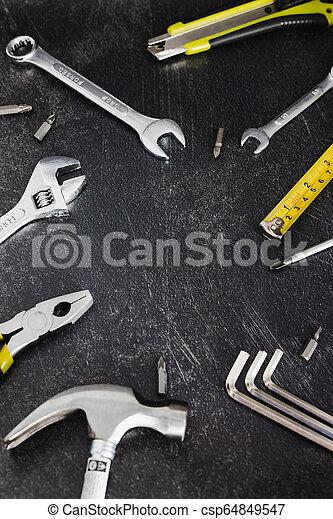ensemble, copyspace, texte, ton, ajouter, bricolage, maison, logo, rénovation, outils, ou - csp64849547