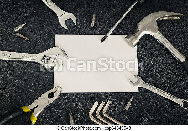 ensemble, copyspace, texte, ton, ajouter, bricolage, maison, logo, rénovation, outils, ou - csp64849548