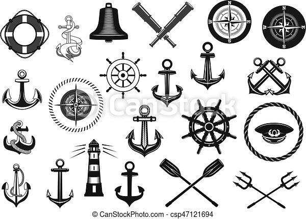 Ensemble corde nautique barre ancre ic ne ensemble h raldique nautique ancre capitaine - Dessin ancre bateau ...