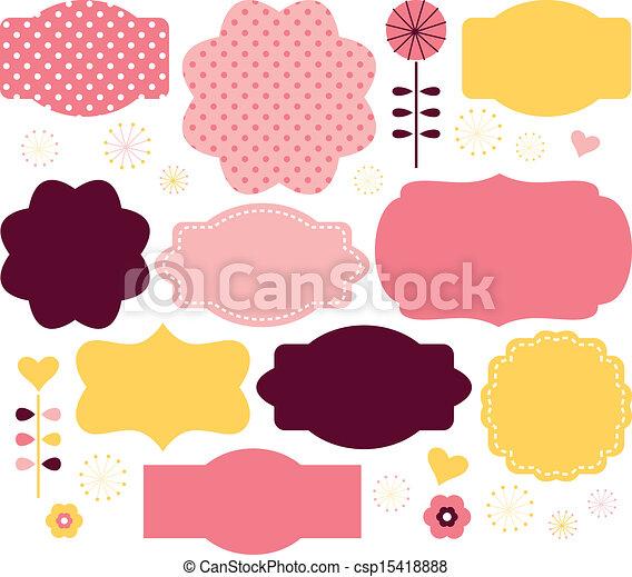 ensemble, couleur, étiquettes, isolé, vecteur, retro, blanc - csp15418888
