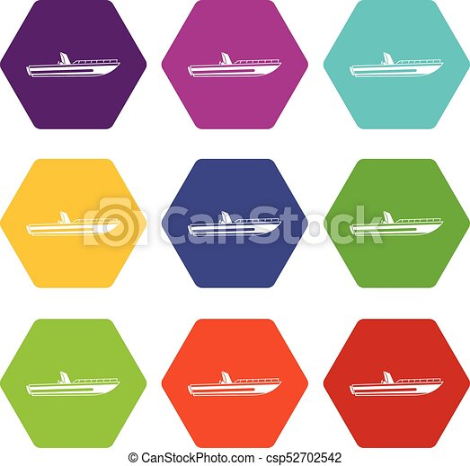 Ensemble Couleur Hexahedron Moteur Accelerez Bateau Icone Ensemble Couleur Beaucoup Hexahedron Isole Illustration Canstock
