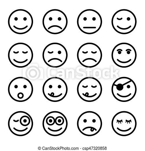 Ensemble couleur smiley illustration noir faces - Smiley en noir et blanc ...