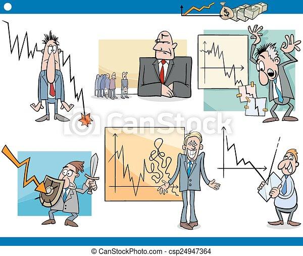 ensemble, crise, dessin animé, concepts affaires - csp24947364