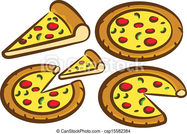 ensemble, délicieux, pizza - csp15582384