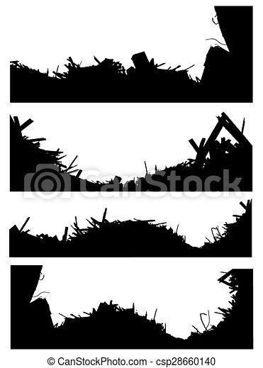 ensemble, démolition, silhouette, site - csp28660140