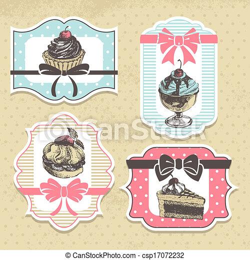ensemble, doux, labels., boulangerie, petits gâteaux, vendange, cadres - csp17072232