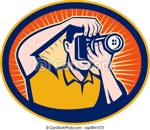 ensemble, dslr, photographe, intérieur, appareil photo, numérique, ovale, sunburst - csp3641473
