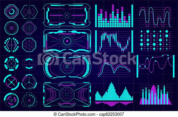 ensemble, elements., hud., interface utilisateur, futuriste - csp62253007
