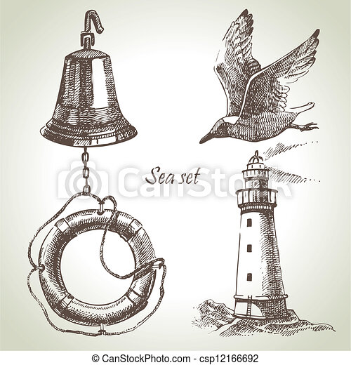 ensemble, elements., main, conception, mer, nautique, illustrations, dessiné - csp12166692