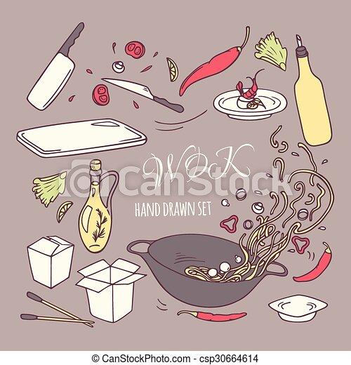 ensemble, elements., restaurant, nourriture, griffonnage, main, asiatique, wok, dessiné - csp30664614