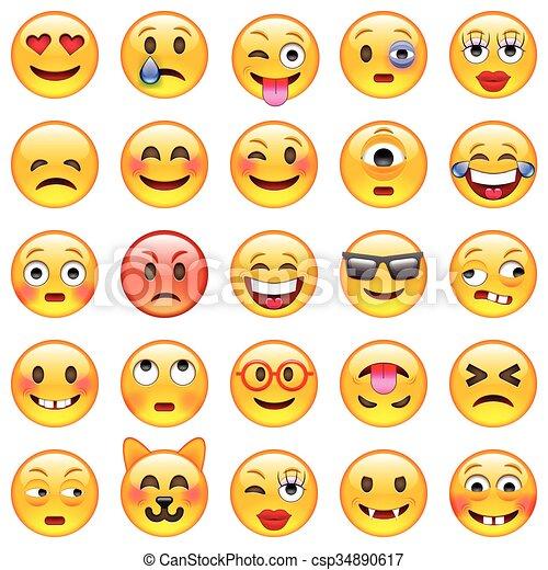 ensemble, emoticons., emoji - csp34890617