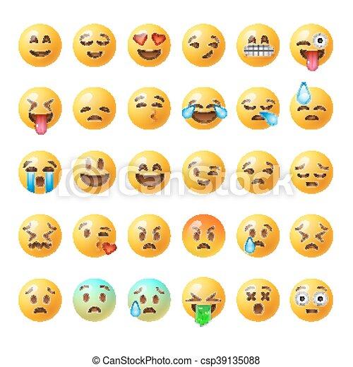 ensemble, emoticons, isolé, fond, blanc, emoji - csp39135088