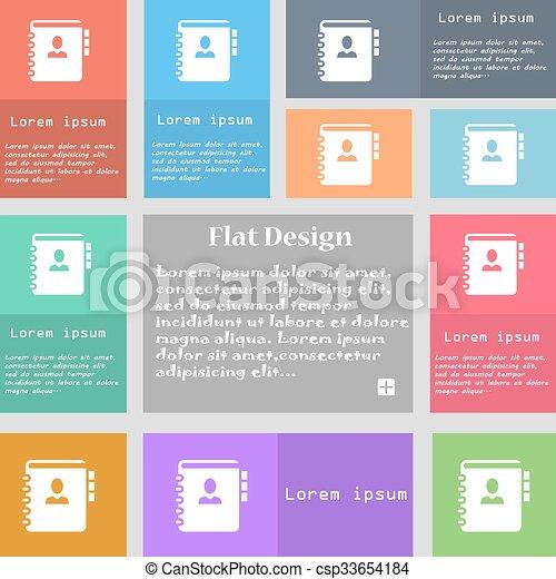 ensemble, espace, signe., text., multicolore, boutons, téléphone, vecteur, adresse, cahier, livre, icône - csp33654184