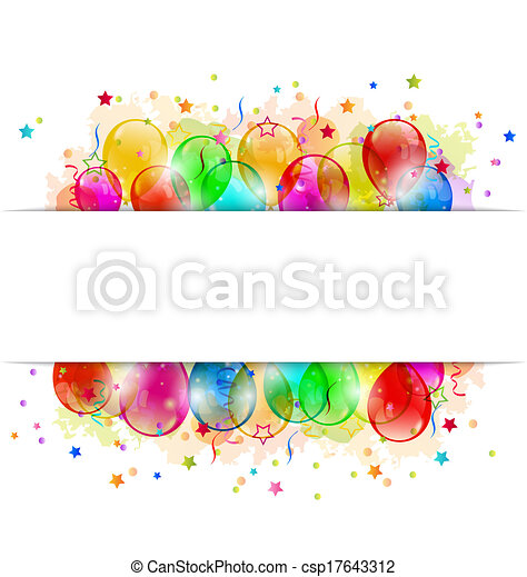 ensemble, espace, texte, fête, confetti, ballons - csp17643312