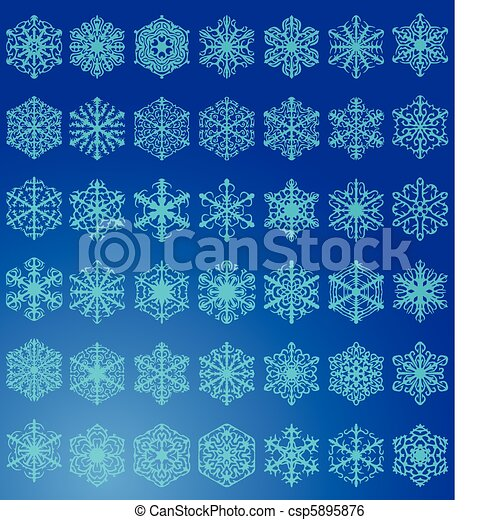 ensemble, flocons neige - csp5895876