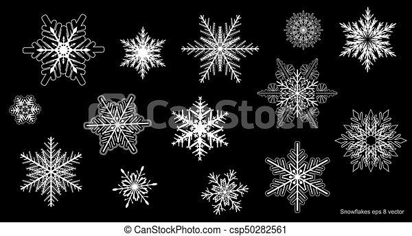 ensemble, flocons neige, hiver - csp50282561
