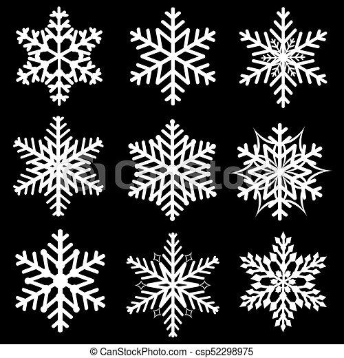 ensemble, flocons neige, hiver - csp52298975
