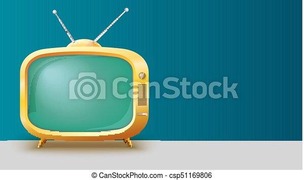ensemble, gabarit, toile de fond, tv, vendange, écran, text., illustration, réaliste, jaune, endroit, long, annonce, vide, horizontal, 3d, retro - csp51169806
