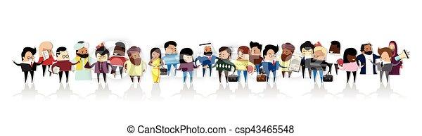 ensemble, groupe, professionnels, businesspeople, mélange, course, dessin animé - csp43465548