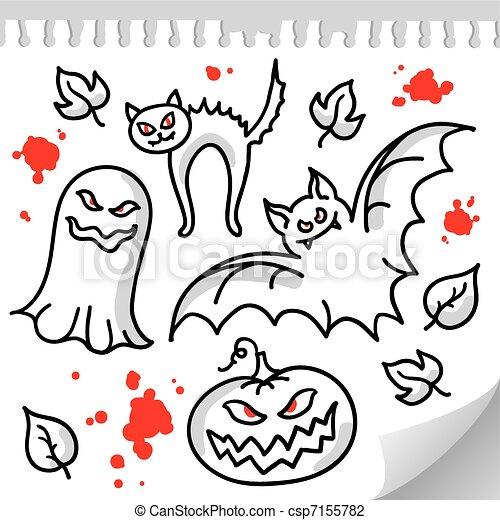 ensemble, halloween, éléments - csp7155782