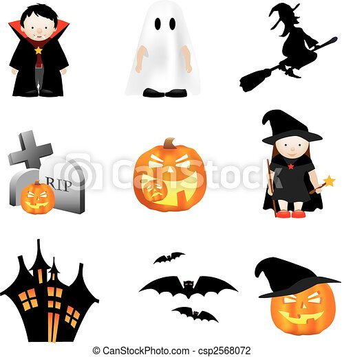 ensemble, halloween, illustration - csp2568072